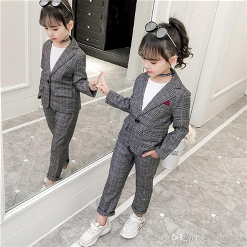 Kız Bebek Kız Giyim Seti Moda Ekose Ceket + Pantolon Eşofman Okul Üniforma Kız Giyim Çocuk Giyim Suit
