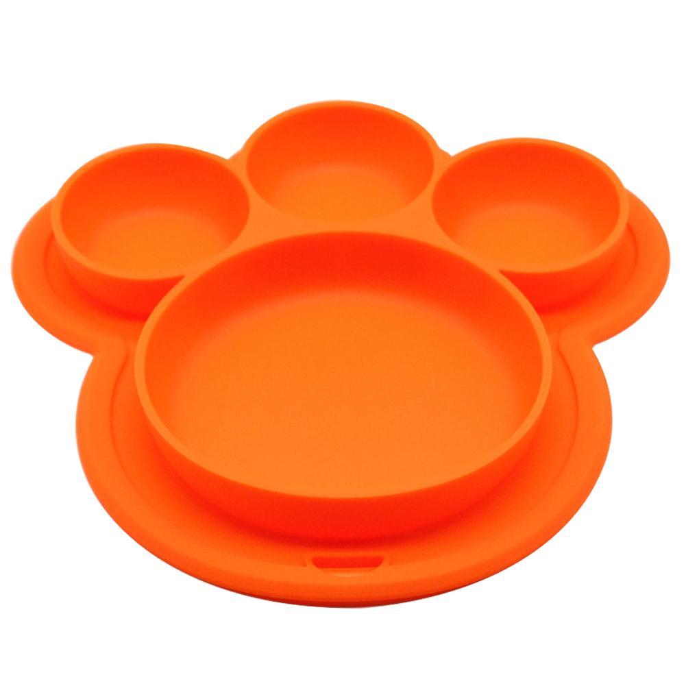 Articoli per la tavola di aspirazione del bambino Bocce Cartoon Formazione silicone di categoria alimentare del bambino dei capretti Home Plate Alimentazione Cena Piatto Bear Paw Forma