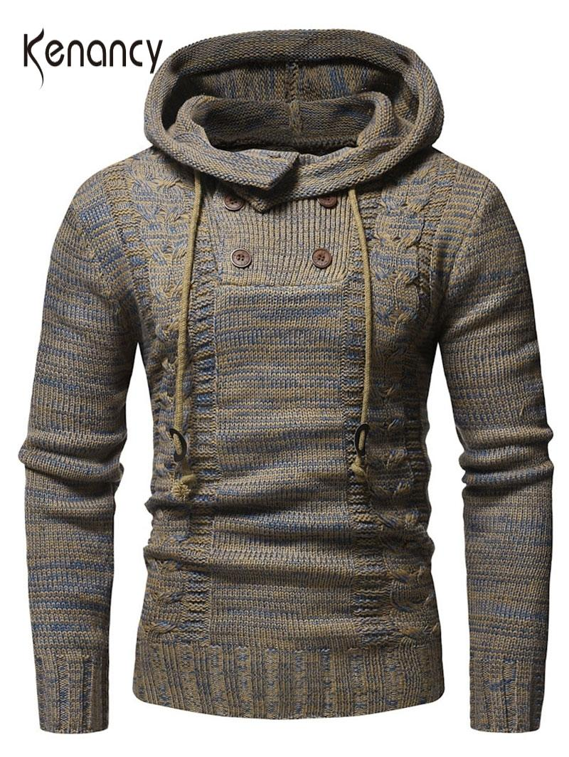 Hemkis Erkekler İpli Yarım Düğme Kapşonlu Triko 2019 Yeni Uzun Kollu Kazaklar Erkek'S Günlük Moda Dış Giyim Triko V191022 Tops