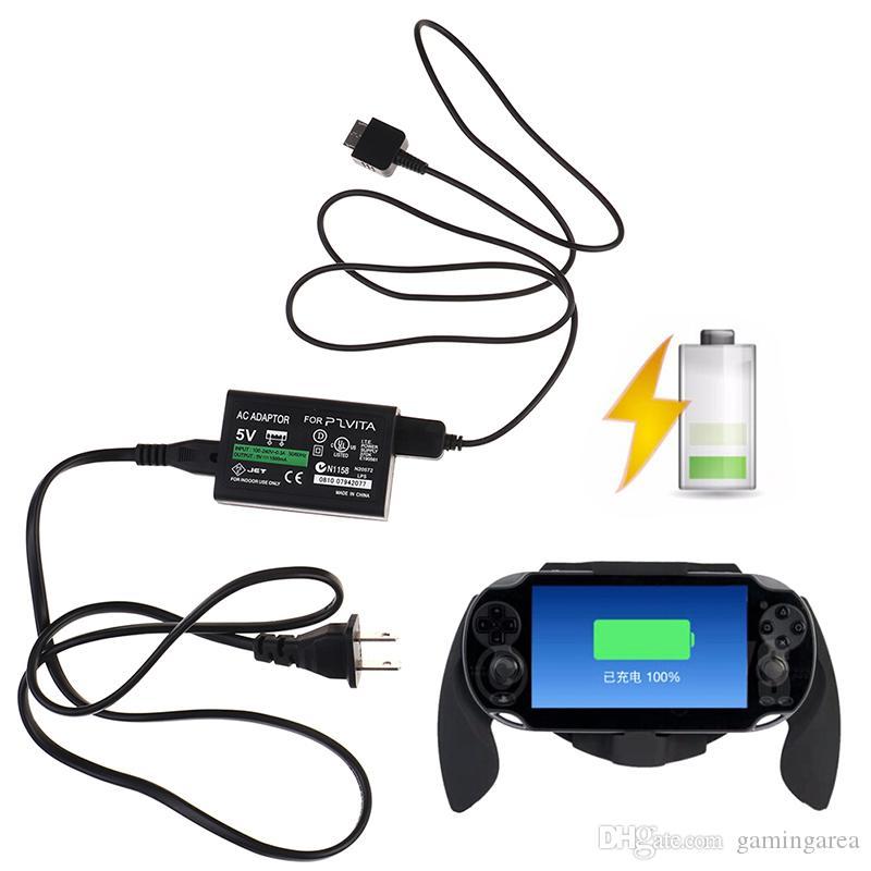 Enchufe de los EEUU de la UE del cargador de Inicio para PS Vita PSV 1000 Adaptador de CA Fuente de alimentación + Cable USB Cable de datos de DHL FEDEX EMS LIBERAN EL ENVÍO