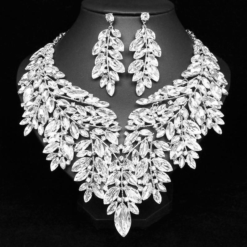 الفاخرة كبيرة كريستال بيان قلادة أقراط دبي مجوهرات مجموعات الهندي الزفاف حفل زفاف المرأة أزياء حلي مجوهرات T200302