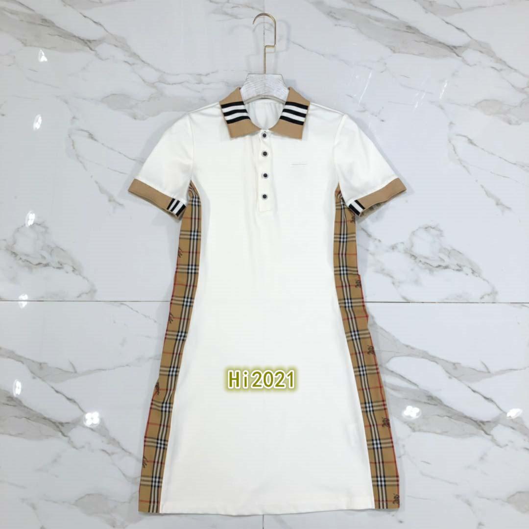 하이 엔드 여성의 소녀 캐주얼 폴로 셔츠 드레스 자수 편지 격자 무늬 스트라이프 스플 라이스 2020 패션 고급스러운 디자인 대비 색 드레스 스커트