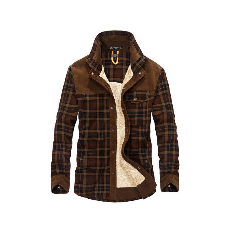 2018 Dropshipping Men 100% Cotton Liner Casual Winter Jacke Men Outerwear Plaid Thick Wool Liner Autumn Winter Fleece Jacket