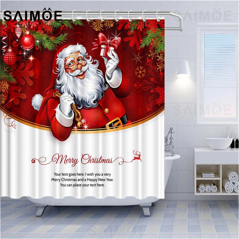 Christmas Santa Deer Gifts Store Sweater Shower Curtain Set Bathroom Decor 180cm