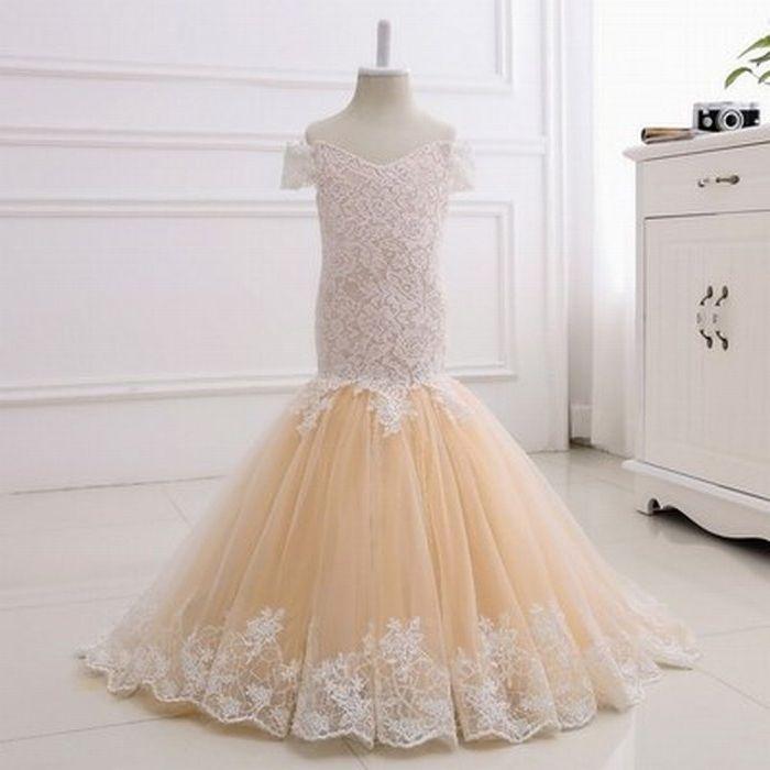 Nova sereia menina vestido de renda tule champanhe flor menina vestidos vestido adolescente para festa de casamento aniversário