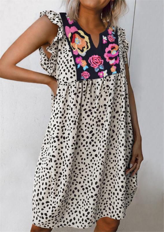 Lusofie Boemia donne del vestito vestito largo leopardo femmina casuale Fiori Stampa abiti con scollo a V 2020 Summer Beach Boho Robe Femme