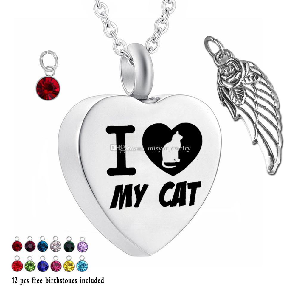 Urn Collane per Ash I my cat Cremazione Cuore Memorial Ciondolo 12 pezzi Birthstone e ali Collana per Cenere