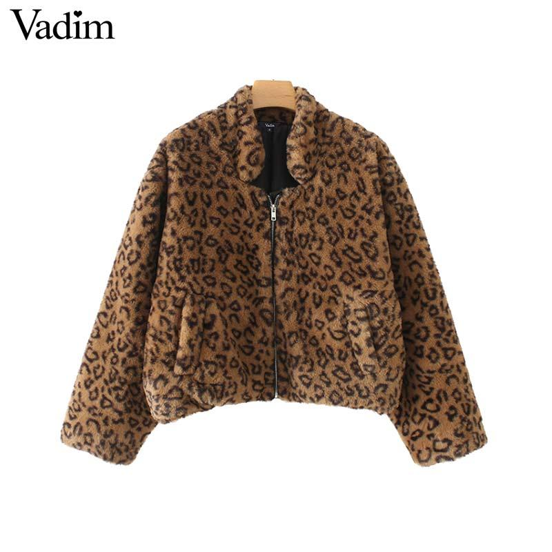 Vadim leopardo faux fur suelta chaqueta de bombardero patrón animal bolsillos manga larga abrigos abrigos mujer casual elegante prendas de vestir exteriores tops CA294