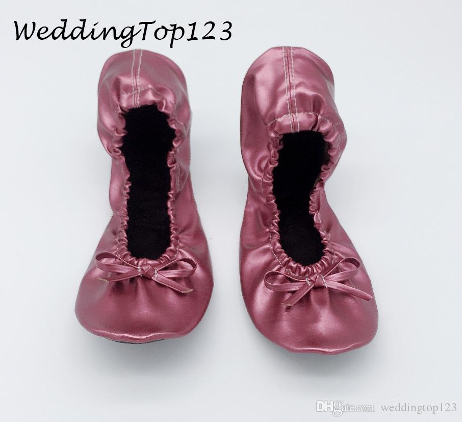 Best selling fold up ballet colorful shoes for wedding gift with bag