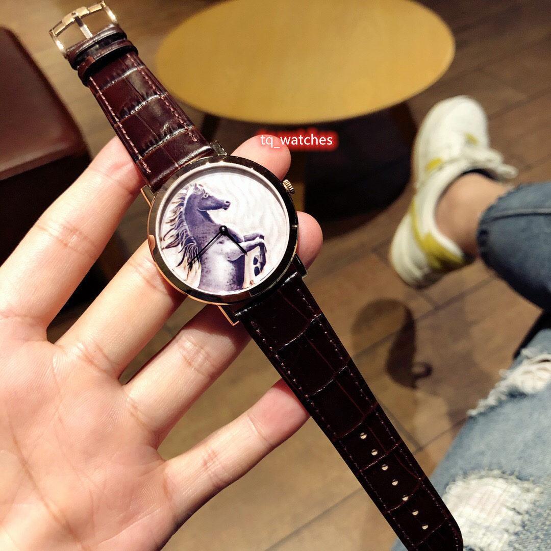 De alta calidad reloj de zafiro espejo de cristal de reloj del cuero de los nuevos hombres de la correa de la caja del reloj de acero relojes mecánicos automáticos del oro inoxidable