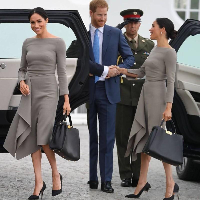 2020 Vintage Diz Boyu Ünlü Elbise Basit Saten Uzun Kollu A Hattı Parti Prom Abiye