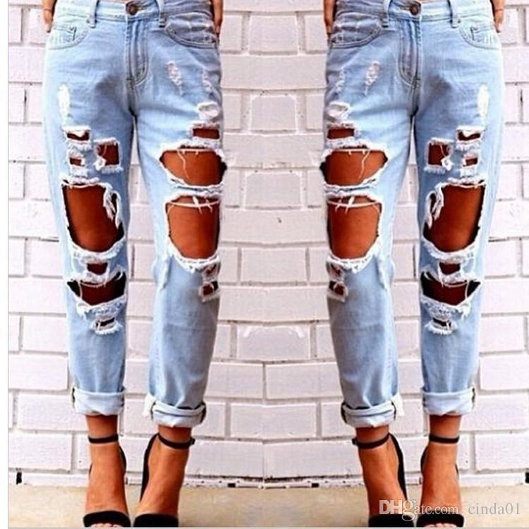 Femmes Hot Sexy Jeans Ripped Ripped Destroyed Distressed Slim Denim Pantalons Hip Hop Casual Vêtements pantalons pour femme Livraison gratuite