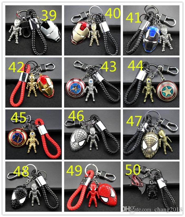 98 styles Avengers Keychain Metal Car Pendant Creative Gift Car Key Chain Man Wei Anime Ornament Llavero Moto Key Ring For Car Access 190426