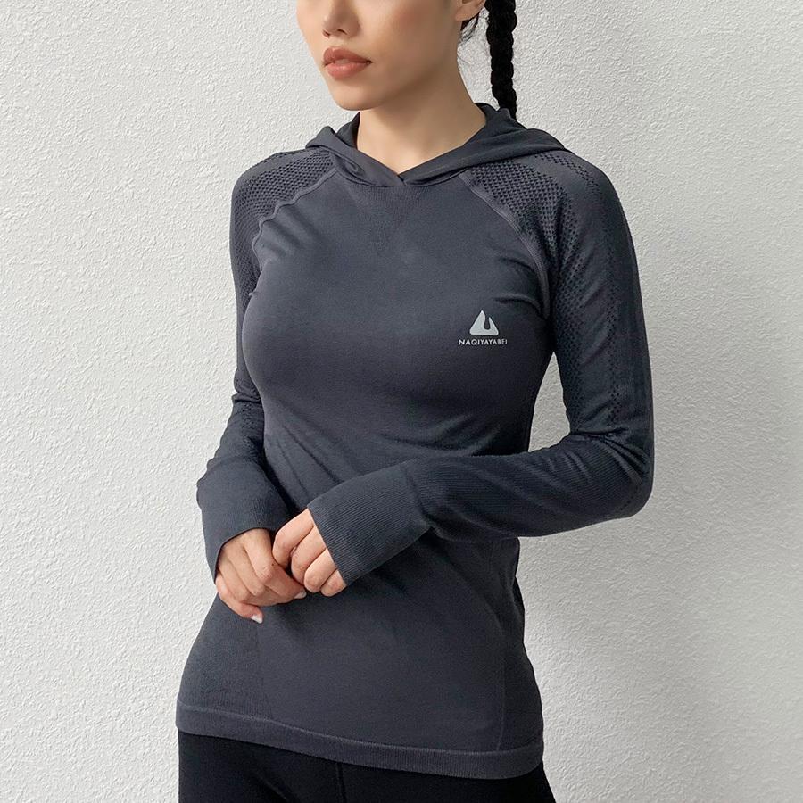 BINAND Yoga Shirt Sport Top Femme capuche exercice Sport T-shirt de la femme Slim Fitness Gym Top Fit Dry marche manches longues entraînement T200623