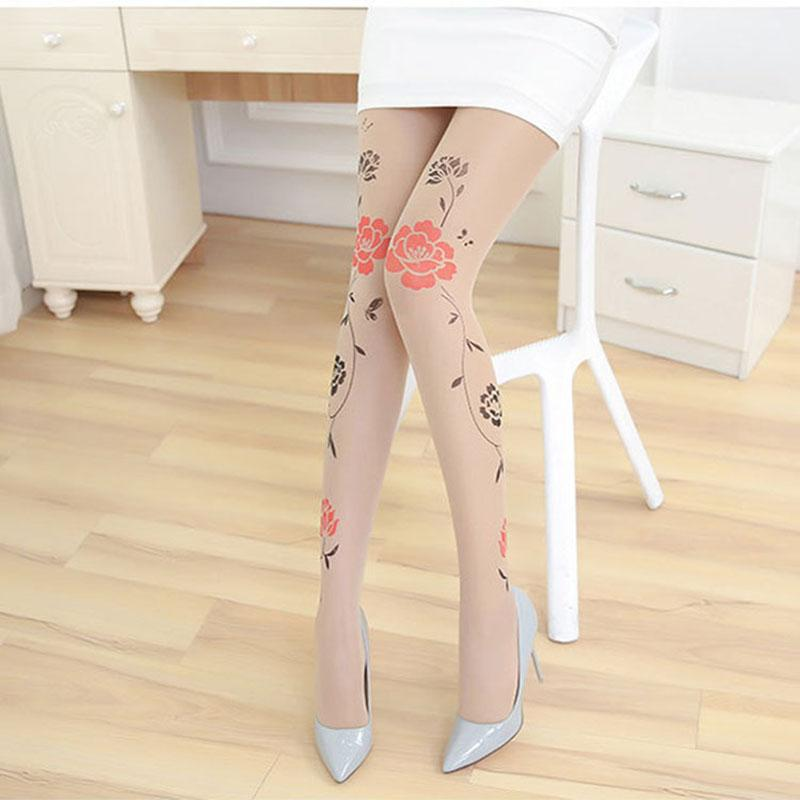 CA084 New Transparent Women Tattoo Tights Velvet Flower Print Sexy Nylon Stockings High Quality Durable Pantyhose