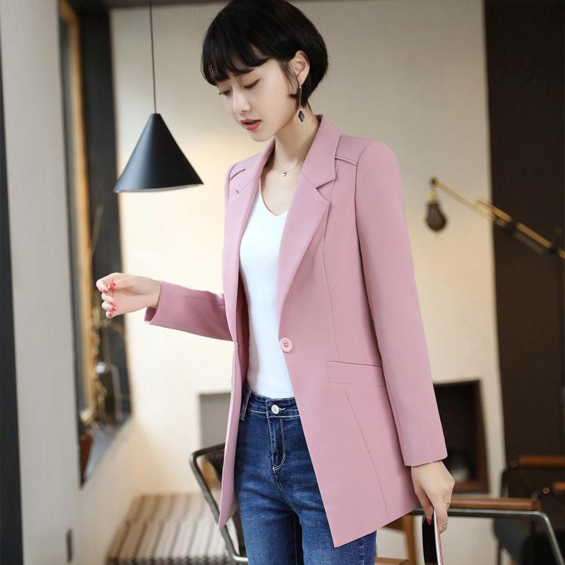 De alta calidad de la chaqueta del juego mitad de la longitud de la mujer femenina 2020 abrigo coreano elegante oficina de Slim Blazer Mujeres Ropa de Trabajo