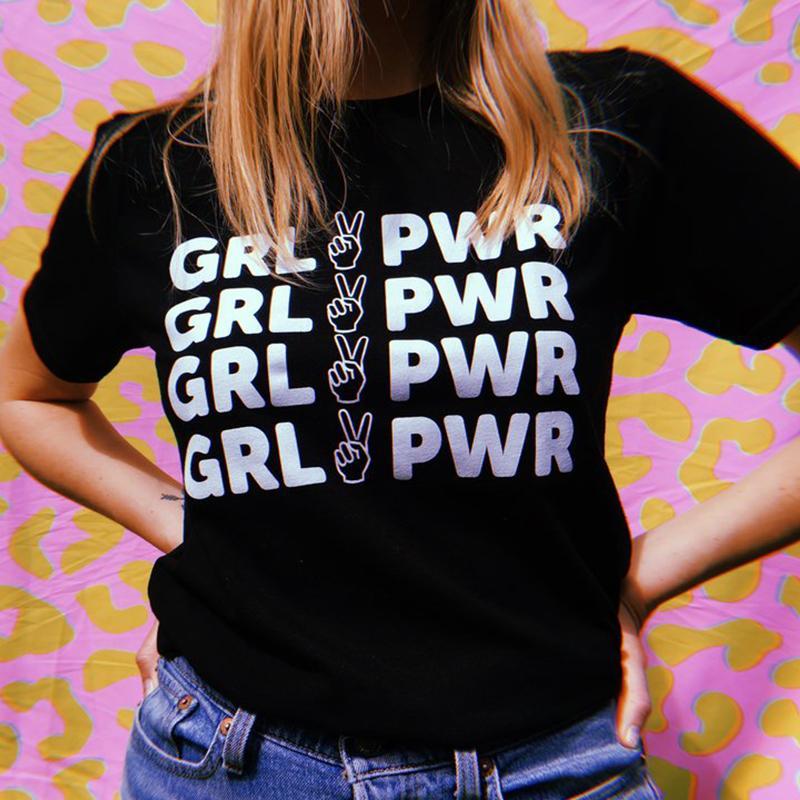 Mulheres Camiseta Womens Designer Tops Moda Pwr T Shirt Girl Power T-shirt feminista camiseta de algodão Harajuku Camiseta A é rosa