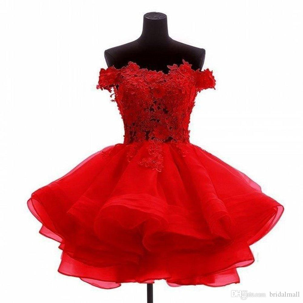 Billiga 2019 Lace Appliques Organza Short Prom Homecoming Dresses Plus Size Beaded Crystals Graduation Dress Mini Little Cocktail Party Gowns