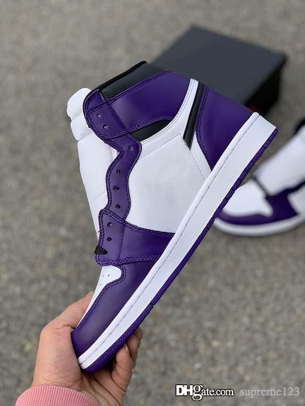 2020 Shoes Ar Authentic 1 High OG Tribunal roxo Basquetebol Homens Tribunal roxo Sports Sneakers 555088-500 Com Box US 7-12