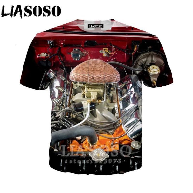LIASOSO Frauen Sweatshirt 3D-Engine-T-Shirt Autoteile Männer drucken T-Shirts Maschinen Männer Cartoon-T-Shirt Harajuku Strand Tees D013-