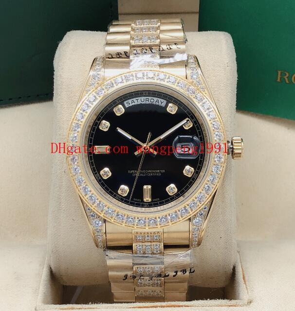 2813 Farbe Hohe Qualität Bewegungsuhren Strap Diamant Inlaid 11823 Dial Diamant Day-Datum Mechanical 9 41mm Automatische Inlaid-Uhr Full HWOC