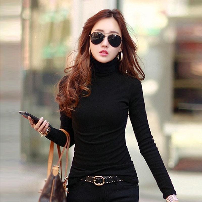 T 셔츠 여성 최고 여성 의류 패션 단색 여성 T 셔츠 긴 소매 슬림 터틀 넥 셔츠 드롭 배송