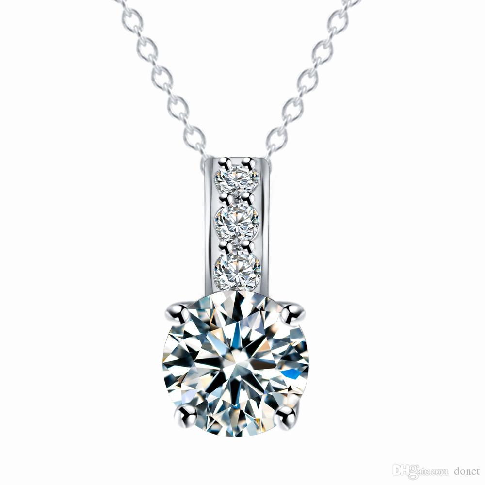 Shining White Clear Zircon Necklaces Silver Gold Plated Round Shape Cubic Zircon Pendant Necklace for Women Gifts