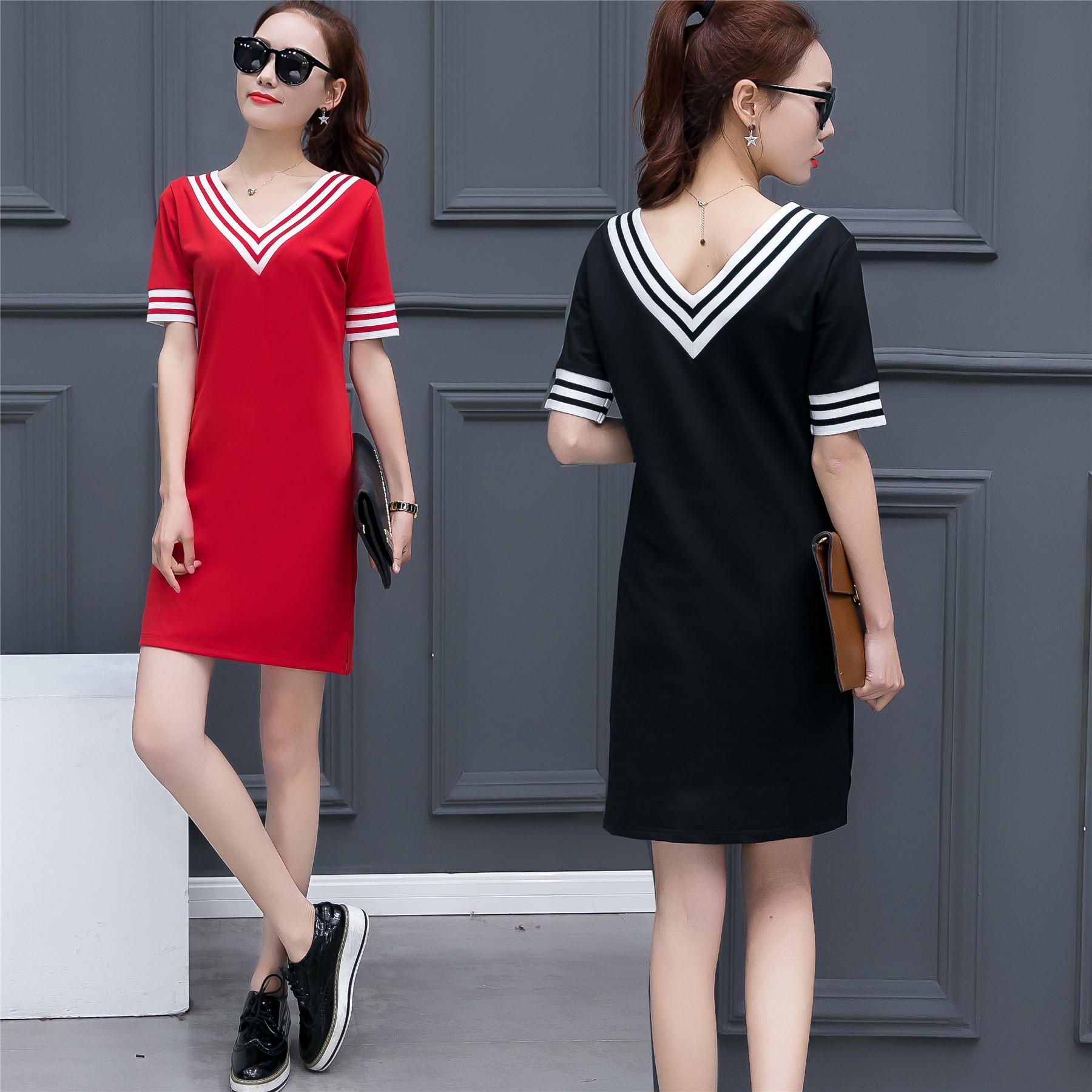 2017 frauen sommer rot gestreift plus größe 4xl nette mini koreanische beiläufige kleid weibliche pullover kurzarm solide hemd kleider