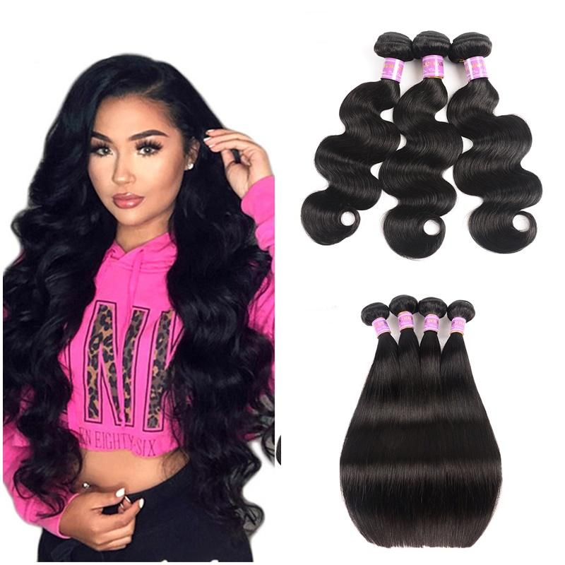 Brazilian Body Wave Bundles Human Hair Extension Brazilian Virgin Straight Human Hair Double Weft Dyeable Hair Wefts Makeup