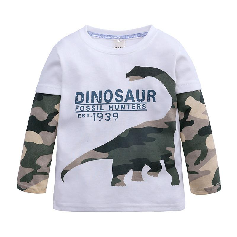 Kids Boys T-shirt Long Sleeve Dinosaur Pattern for Child Boy Summer Autumn Boys Clothes 2-7 Years Old