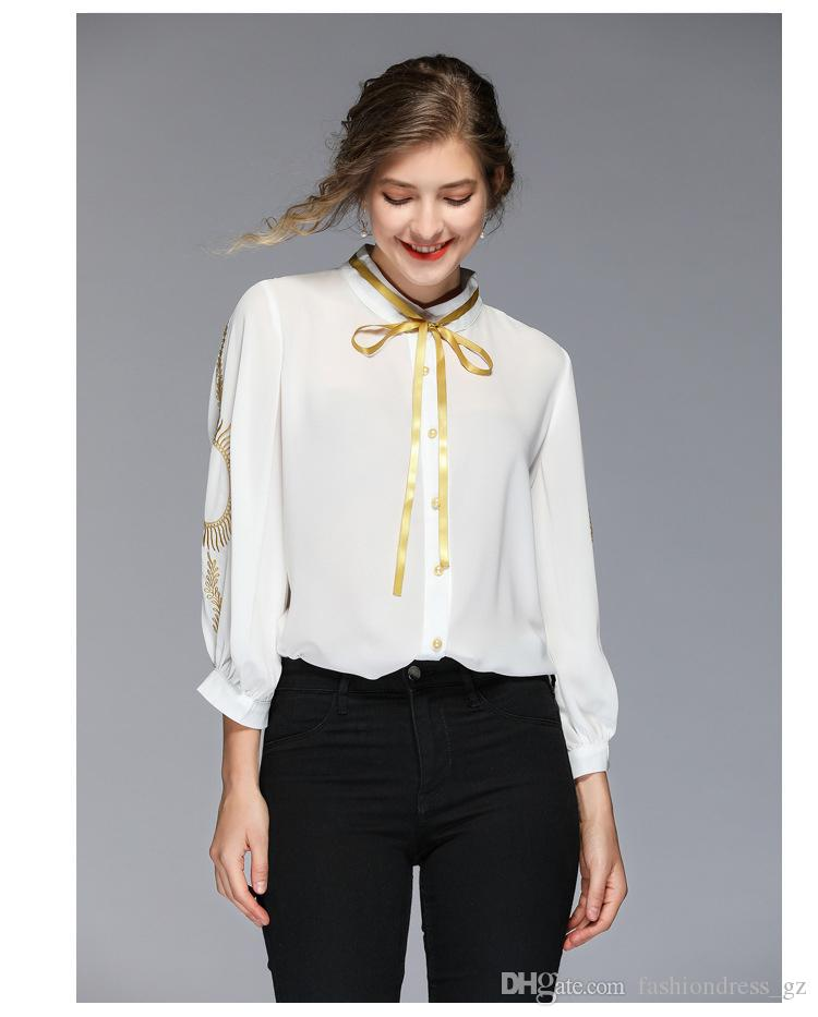 Women Blouses Shirt Crew Neck 3/4 Sleeve Embroidery White Brief Women Chiffon Bow Office Ladies Business Daily Formal Spring Brand New 2019