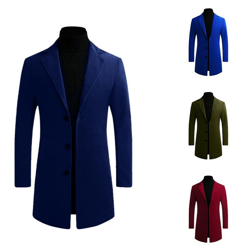 Winter Wool Coat Men Long Slim Fit Warm Casual Trench Jacket Male Solid Single Breasted Blends Coat Jacket 5XL