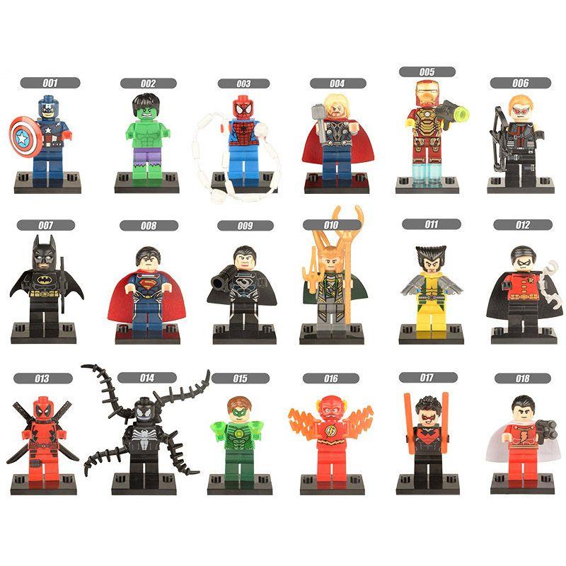 Marvel Super Hero Avengers Captain America Loki Wolverine Venom Superman Iron Man Thanos Deadpool Hulk Mini Toy Action Figure Building Block