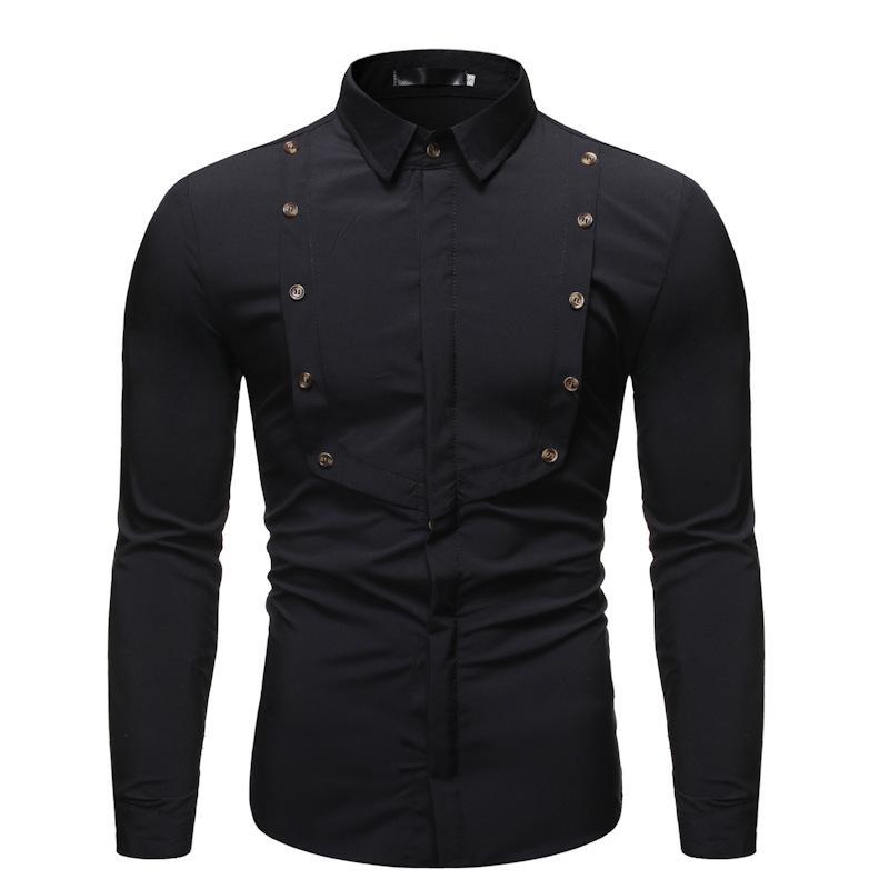 Novo Código Europeu Sólidos shirt cor lapela base Homens trespassado decorativa quente de manga comprida camisa dos homens Tamanho S-2xl