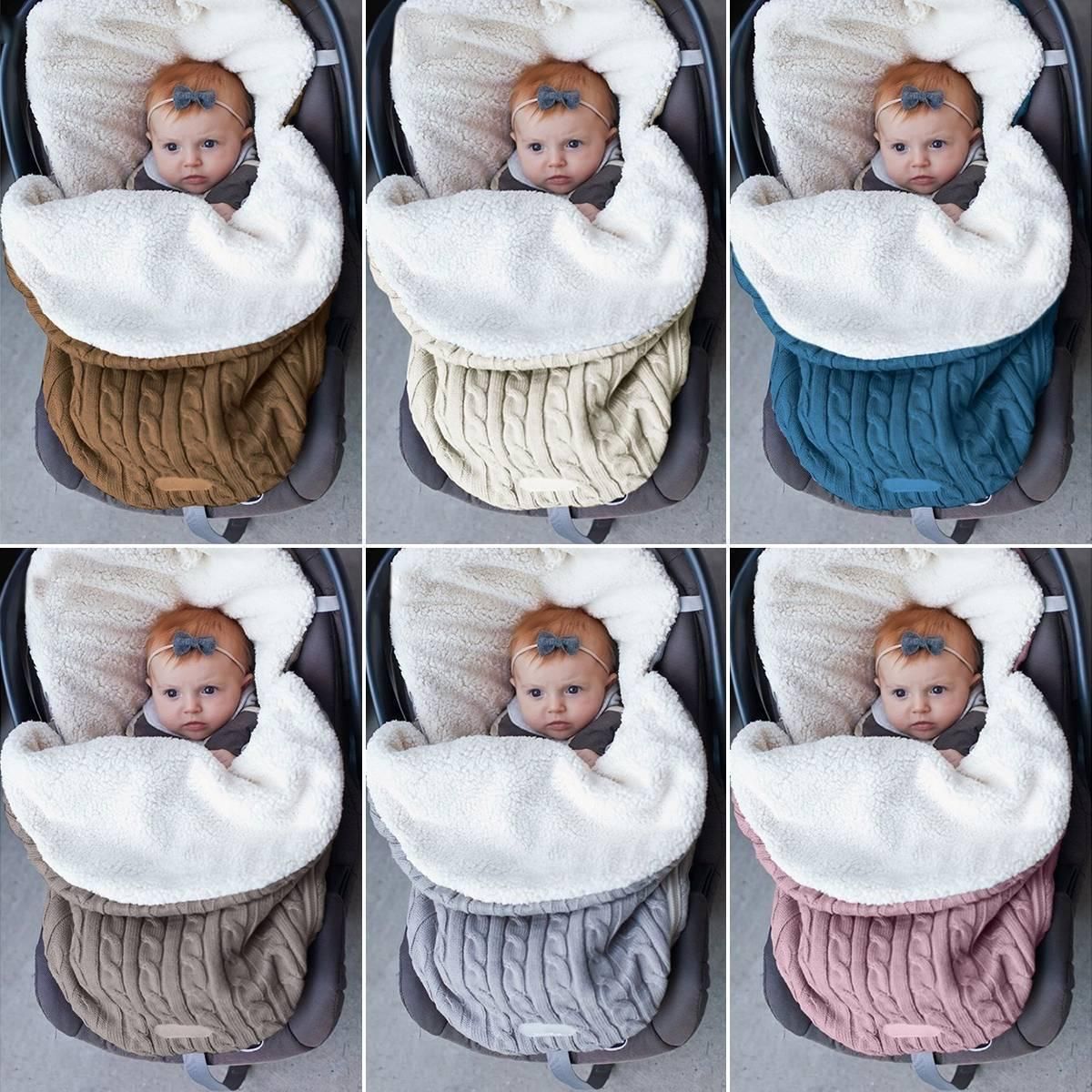 White Newborn Baby Fleece Swaddle Blanket Winter Wrap Knitted Sleeping Bag Warm Knit Nap Blanket Plus Velvet,Bag Sleep Sack Stroller Wrap