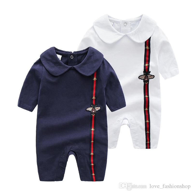 Retail Baby lapel Embroidery Romper 0-3 months Cotton Rompers Newborn baby bodysuit Children one-piece onesies Jumpsuits climbing clothes