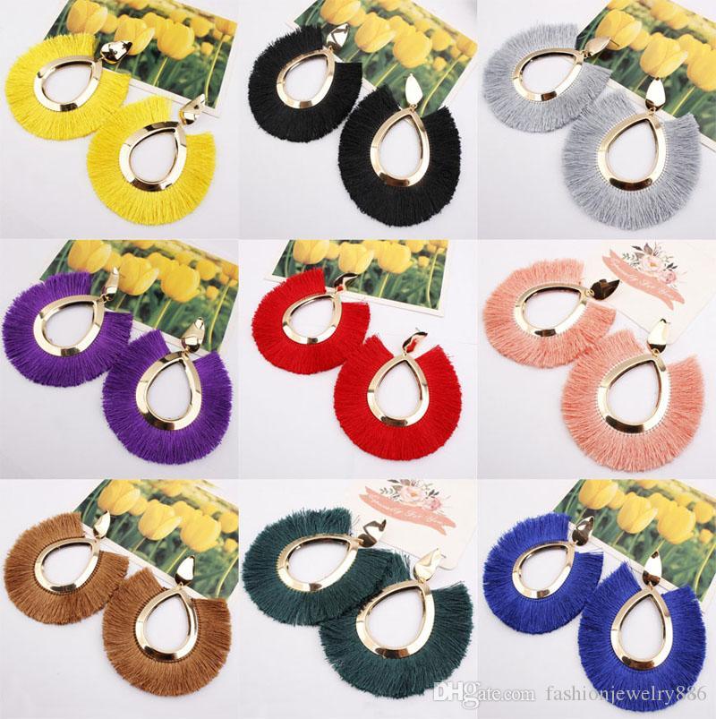 11 الألوان مجوهرات العصرية العرقية البوهيمي الشرابة أقراط للنساء اليدوية الملونة أقراط بيان هوب كبير للنساء هدايا فتاة الجديد