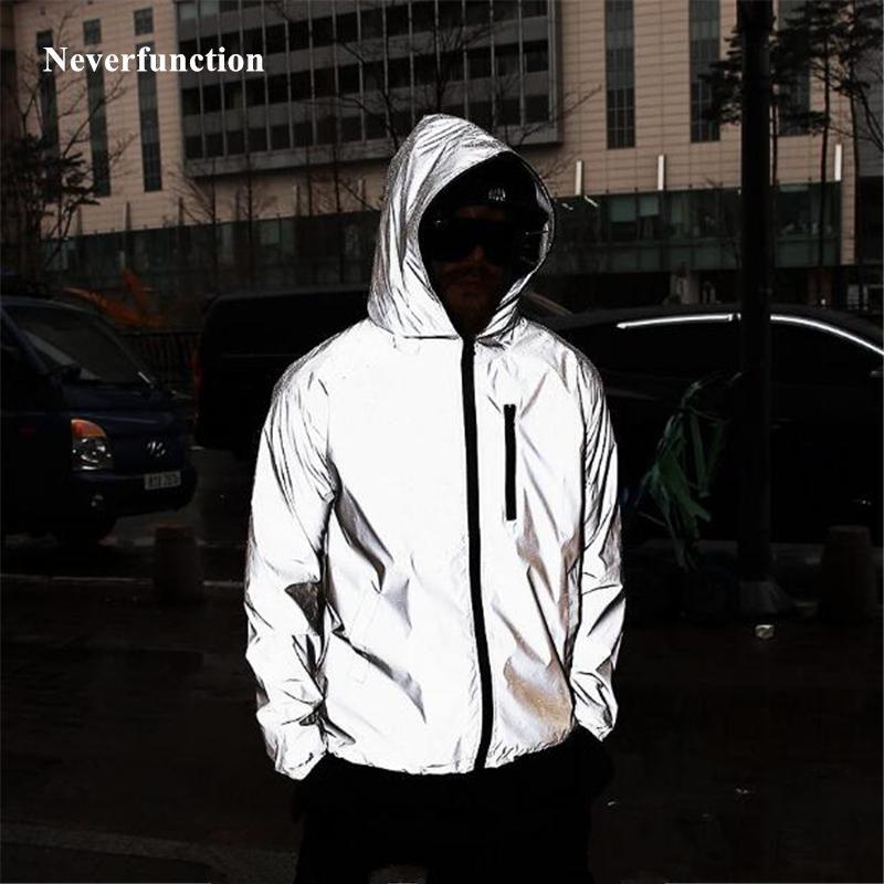 4XL más el tamaño de los hombres del otoño del resorte completo reflexivo rompevientos Chaqueta impermeable masculino calle Alta hip hop flojo con capucha abrigos V191031