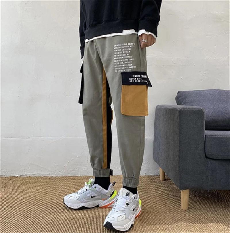 유행 결합 색깔 느슨한 바지 스포츠 연필 Pantalones 남성 Harem 바지 호리호리한 적합 2020ss 망 바지
