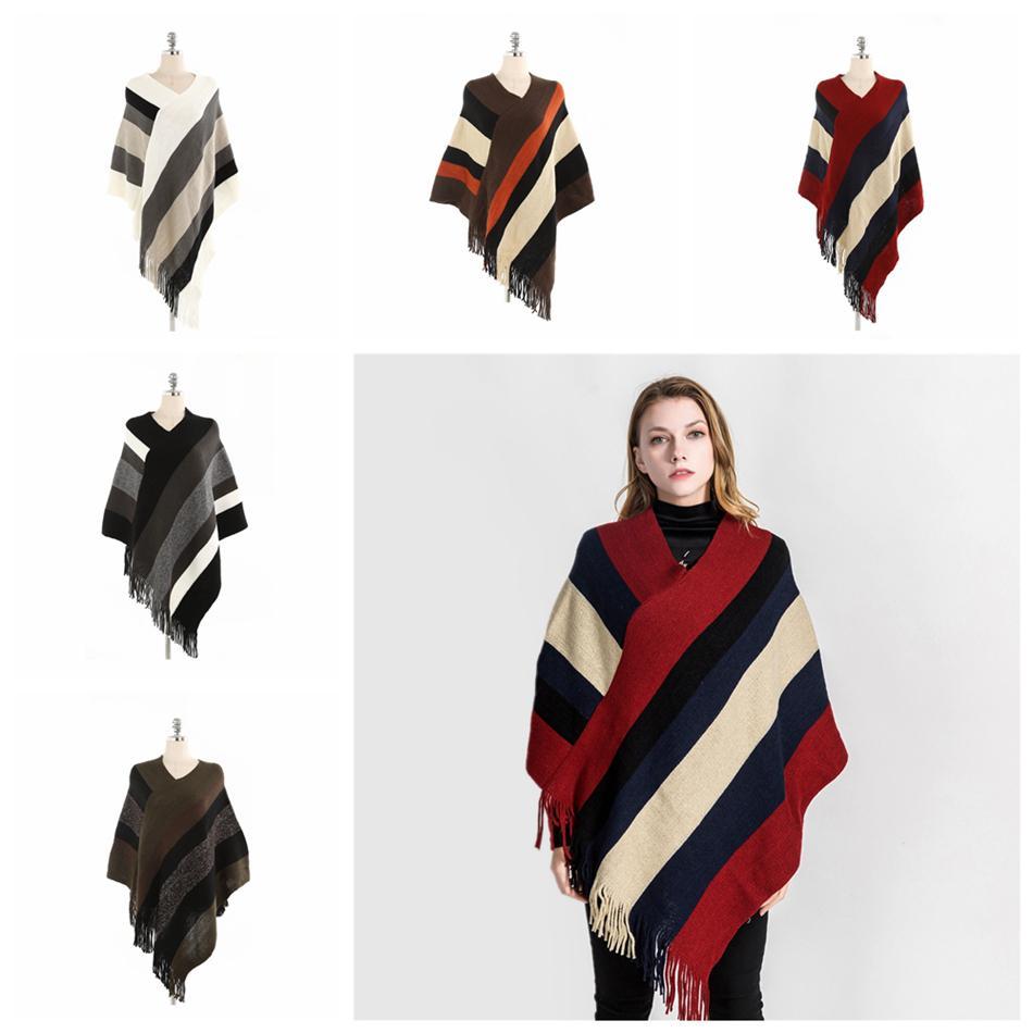 Quente Mulheres Striped Tassel Poncho Sweater Knit do envoltório do lenço soltos Xaile Lenços Vintage Meninas Inverno LJJA3429-15 Manto Brasão cape