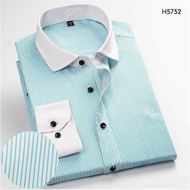 Men's Long-Sleeve Shirts Slim Mint Business Casual Stripe Shirt Work Men Business Weddind Shirts Plaid Work Office Dress