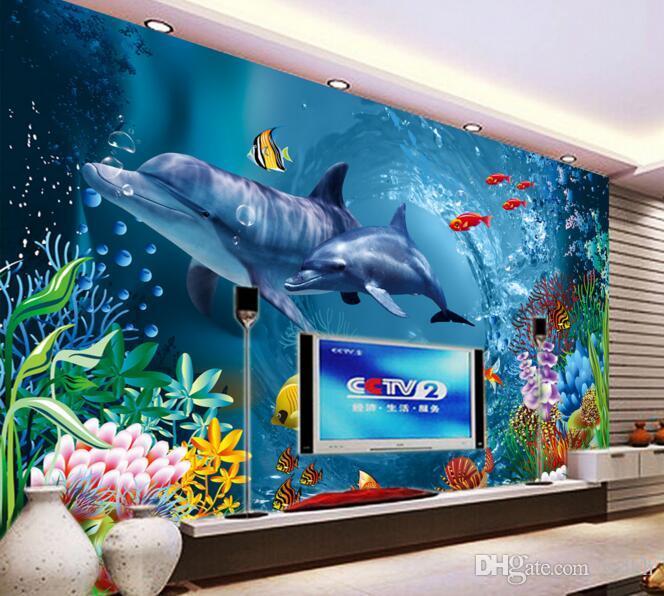 3d papel de parede personalizado foto marinha golfinhos mãe e criança grama de água sala de estar decoração de casa parede 3d muals papel de parede para paredes 3 d