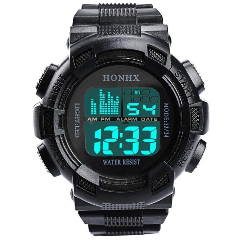 Rapide Envoi LED Mens en acier inoxydable Digital Date Alarme Sport Waterproof Armée Quartz Bracelet Goutte cadeau Livraison L810