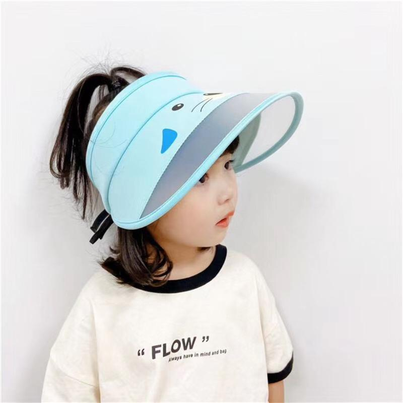 Wide Brim Sun Hats for Kids Summer UV Protection Cartoon Sun Shield Visor Hat Korean Cute Topless Beach Cap Baby Girl Boy Caps