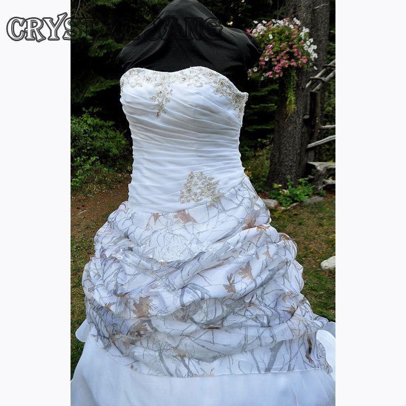 CAMO 웨딩 드레스 Strapless 레이스 픽업과 볼 가운 진정한 목재 스노우 Camo에서 Organza 신부 드레스 레이스 Appliques