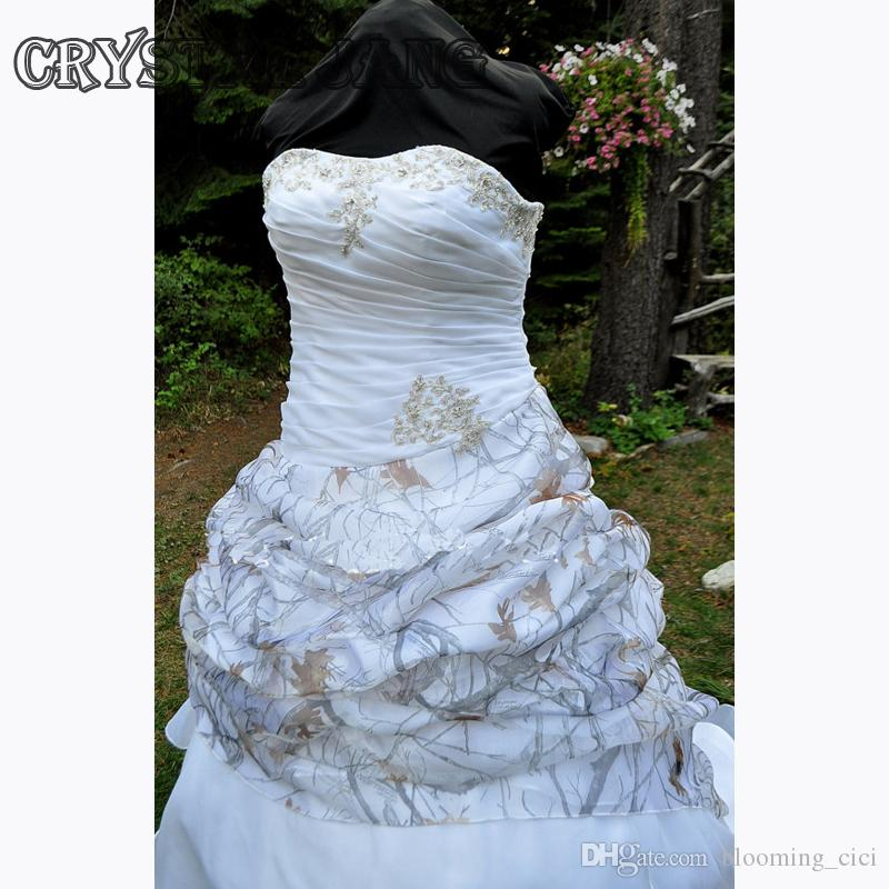 CAMO Wedding Dress Strapless Lace up Ball Gown With Pickups True Timber Snow Camo in Organza Bridal Dress Lace Appliques