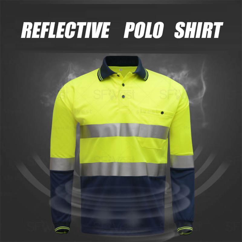Hallo vis hohe Sichtbarkeit reflektierende Reflexion Herren T-Shirt Sicherheitsarbeit Hemd für männliche fluoreszierendes Gelb und Marine plus size