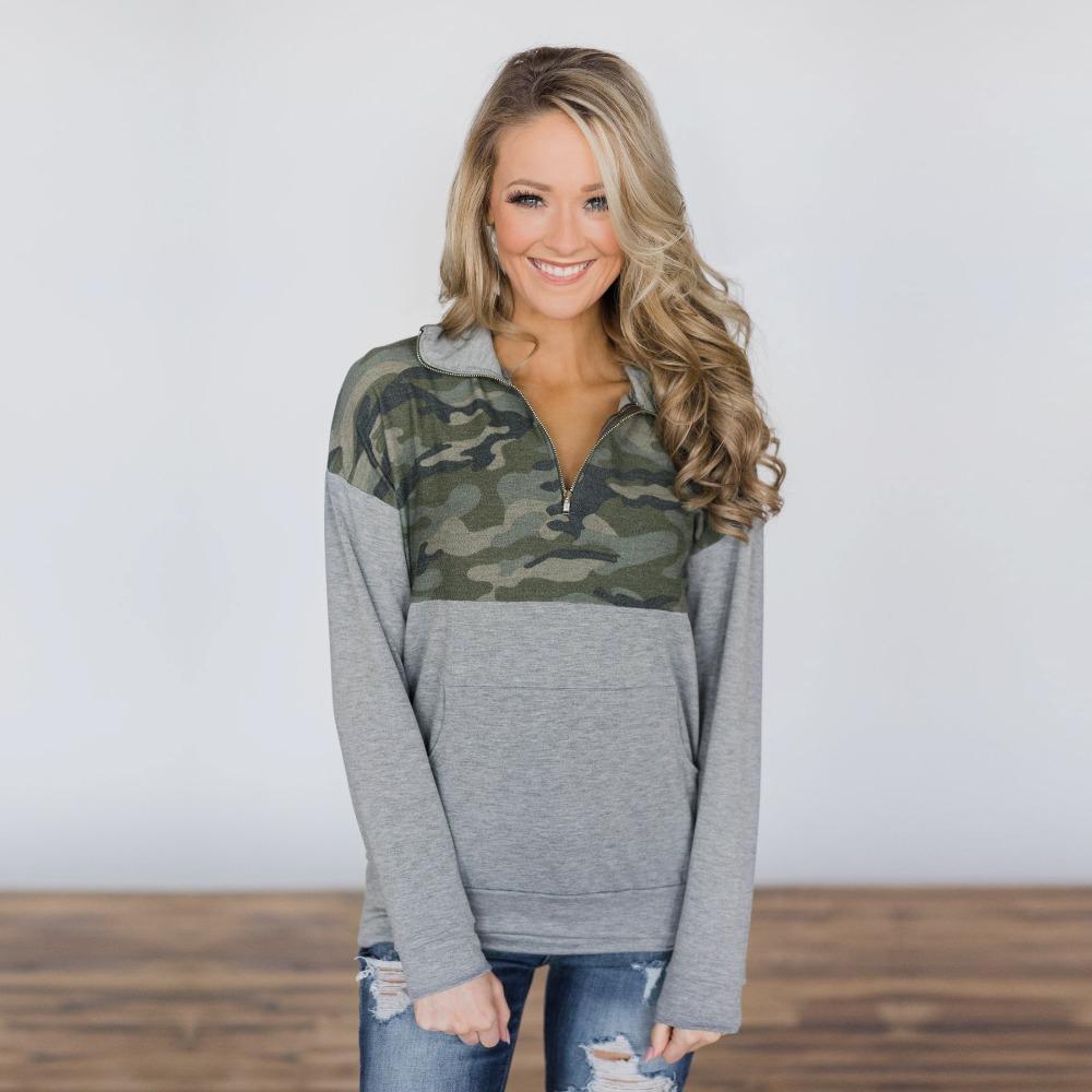 Damen Hoodies Sweatshirts Herbst Frauen Sweatshirt Casual Langarm Patchwork Camouflage Straße Weibliche Mode Hoody Hohe Qualität