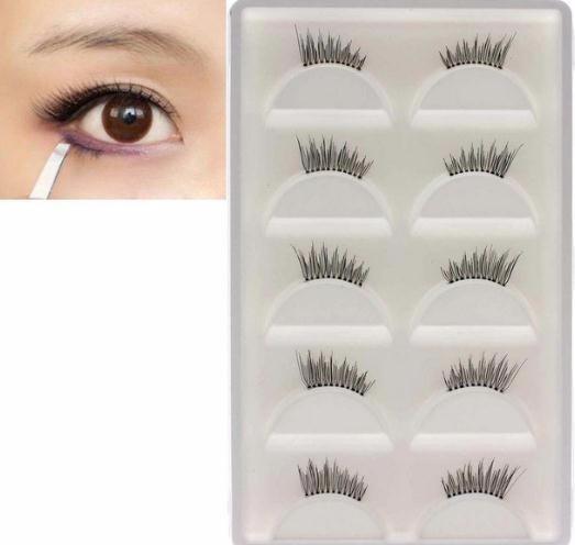 5 pares de medias pestañas falsas de la señora ojo pestañas herramienta de maquillaje extensiones de pestañas caliente