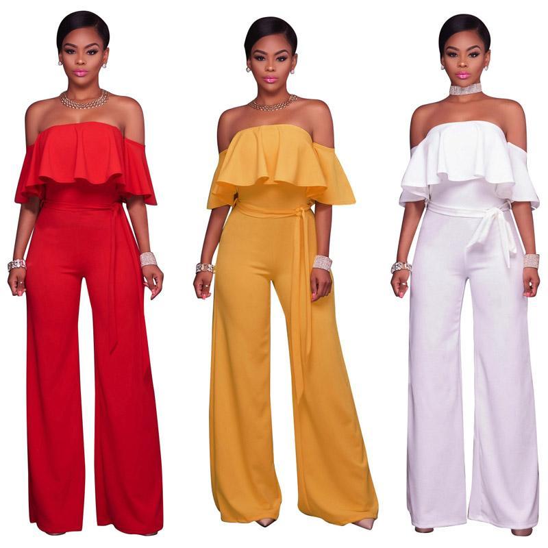 여성 XL 새로운 섹시한 jumpsuts strapless 옷 넓은 솔리드 jumpsuit 다리 바지 흰색 빨간색 프릴 여자 점프 슈트 색 811 hfvb